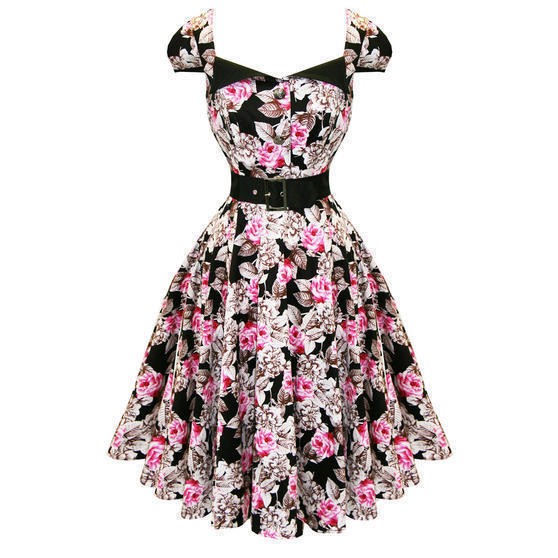 Hearts and Roses London Black and Pink 1950s Dress