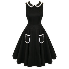 Hearts and Roses London Black Flare 50s Style Vintage Party Prom Swing Dress