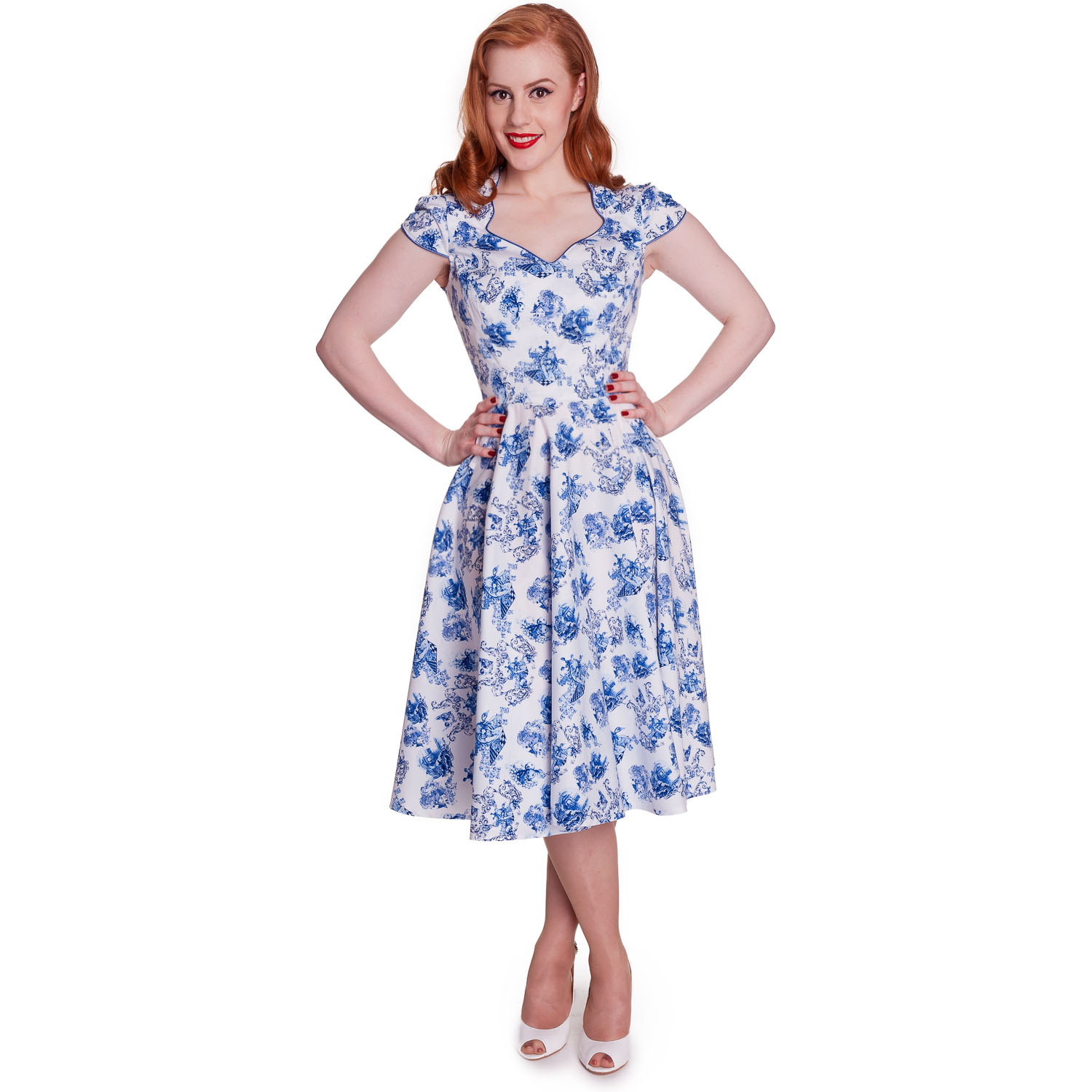Hell-Bunny-Constance-Blue-Floral-Skull-Print-50s-Vintage-Summer-Tea-Dress