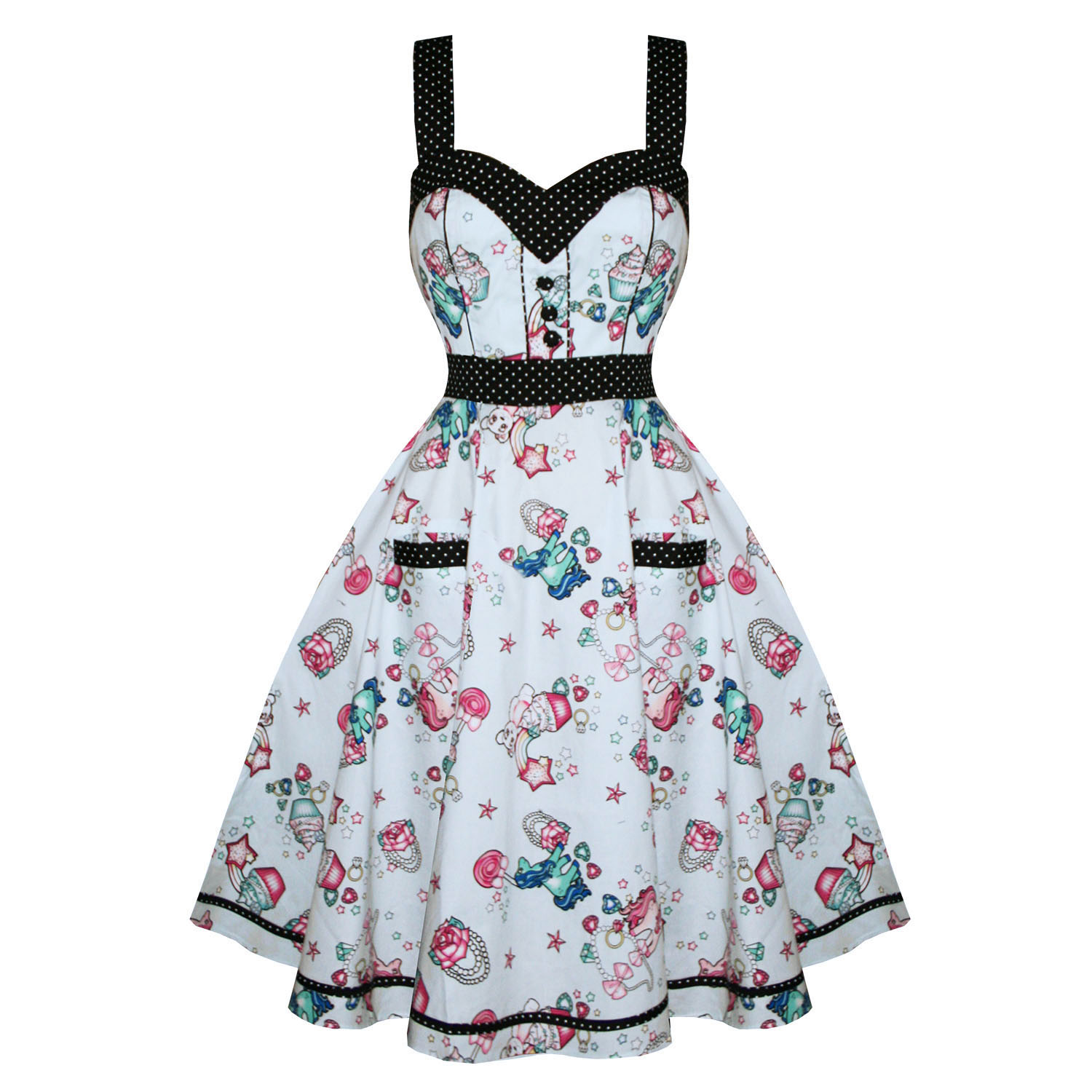 hell bunny super sweet vintage 50s style cupcake print party prom