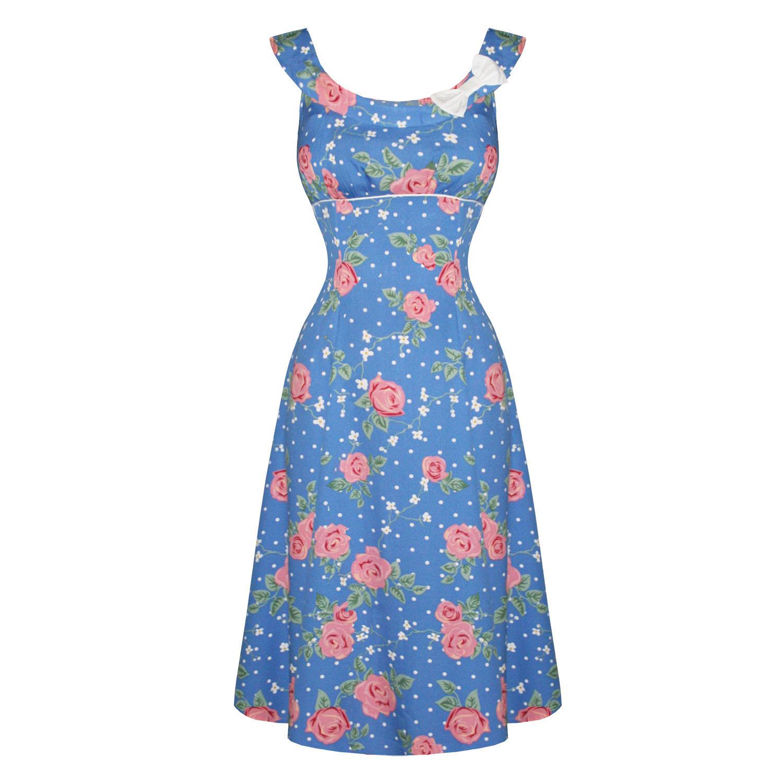 Hell-Bunny-Darlene-Blue-Pink-Floral-1940s-Wartime-WW2-Style-Summer-Tea-Dress