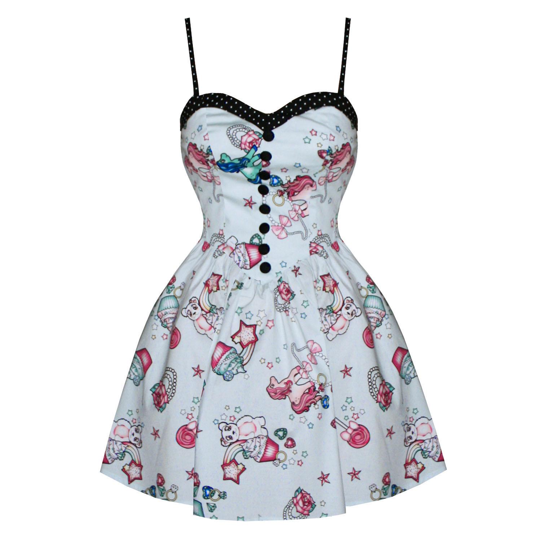 Party Kleid Mini HELL BUNNY Mega Süß Törtchen Aufdruck Rockabilly | eBay