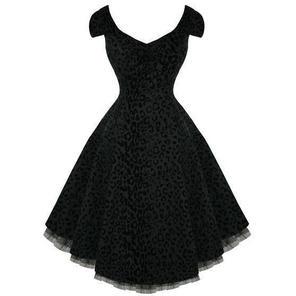 Black Party Prom Dress Leopard Print 50s Swing Vintage Style Size 8 - 18