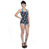 Banned Cute Candy Panda Blue Rockabilly Retro Style Swimming Costume UK
