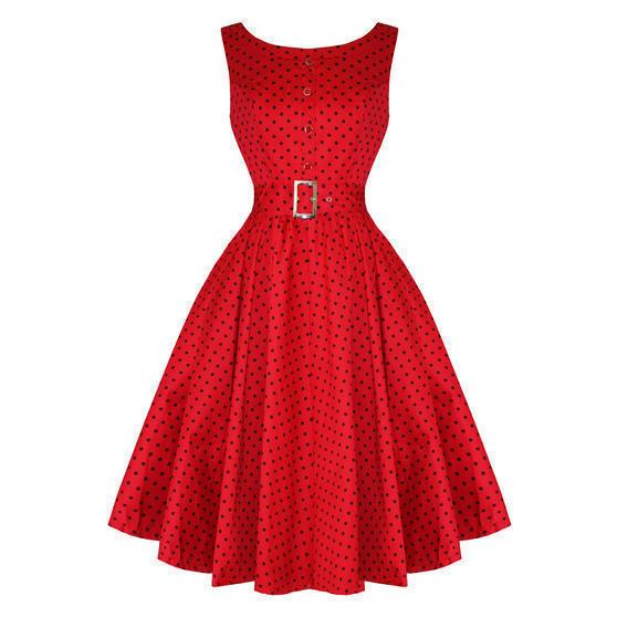 Hearts and Roses London Red Polka Dot 1950s Dress