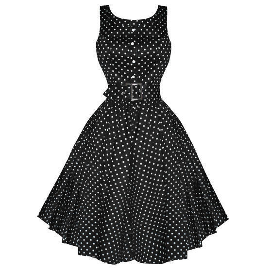 Hearts and Roses London Black Polka Dot 1950s Dress