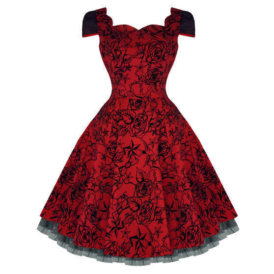 Hearts and Roses London Red Tattoo 1950s Dress