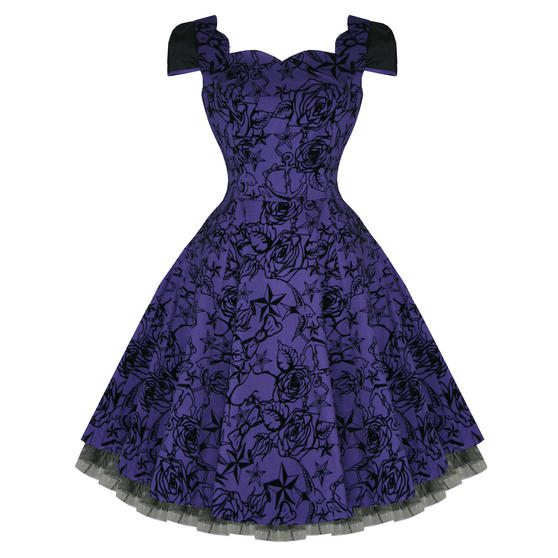 Hearts and Roses London Purple Tattoo 1950s Dress