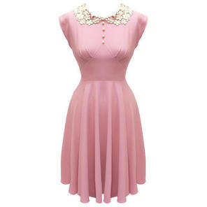 Hell Bunny Emilie Demure Pink 40s Style Victory WW2 Tea Party Dress