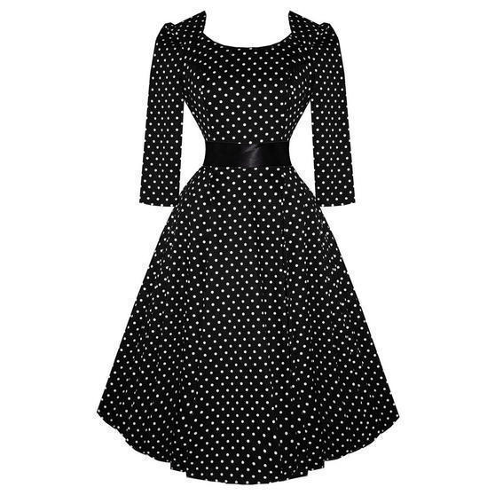 Hearts and Roses London Black Dot 1950s Dress