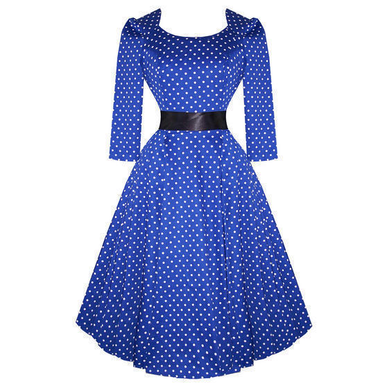 Hearts and Roses London Blue Dot 1950s Dress