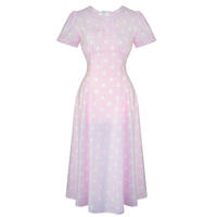 Hell Bunny Madden Pink Dot WW2 1940S Wartime Landgirl Victory Tea Dress