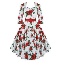 Hell Bunny White Red Rose Floral 50s Vintage Party Summer Sun Tea Dress