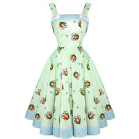 Hell Bunny Foxy Green 50s Vintage Style Rockabilly Swing Party Dress
