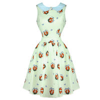 Hell Bunny Foxy Green 50s Vintage Style Peter Pan Summer Tea Dress