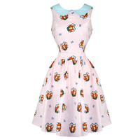 Hell Bunny Foxy Pink 50s Vintage Style Peter Pan Summer Tea Dress
