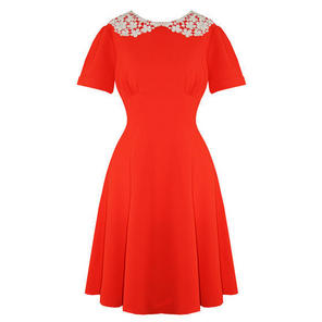 Hell Bunny Mia Bright Orange Vintage Fit and Flare Peter Pan Collar Dress