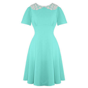 Hell Bunny Mia Bright Blue Vintage Fit and Flare Peter Pan Collar Dress