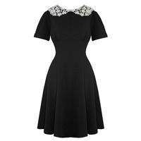 Hell Bunny Mia Black Vintage Fit and Flare Peter Pan Collar Dress