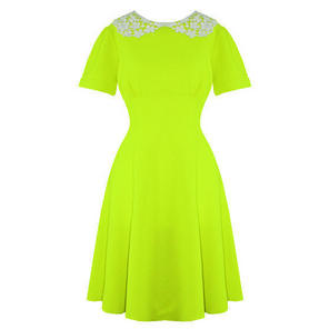 Hell Bunny Mia Lime Yellow Vintage Fit and Flare Peter Pan Collar Dress