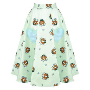 Hell Bunny Green Foxy Dot Vintage 50s Flared Swing Summer Skirt