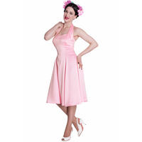 Hell Bunny Macy Pink 50s Vintage Style Rockabilly Swing Party Dress