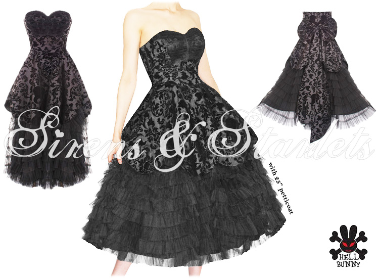 HELL BUNNY LAVINTAGE BLACK GOTH VICTORIAN STEAMPUNK MOURNING WEDDING DRESS