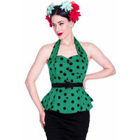 Hell Bunny Adelaide Green Peplum Polka Dot Retro Rockabilly Vintage 50S Top