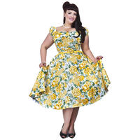 Collectif Dolores Doll Rockabilly Yellow Floral Vintage 50s Prom Swing Dress