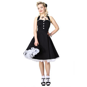 Collectif Gretel Plain Black Rockabilly Vintage 50s Prom Sun Swing Jive Dress