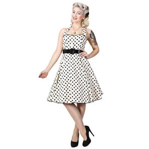 Collectif Gretel Cream Polka Dot Rockabilly Vintage 50s Prom Swing Jive Dress