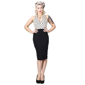 Collectif Marilyn Cream Polka Dot Rockabilly Vintage 50s Pinup Pencil Dress