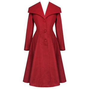 Hell Bunny Coleen Burgundy Red Vintage 50s Winter Coat