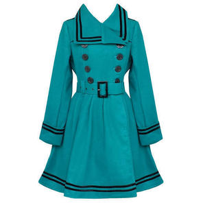 Hell Bunny Millie Teal Blue Nautical Vintage Sailor Winter Coat