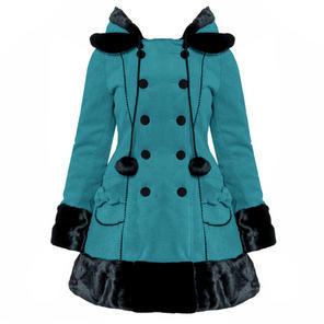 Hell Bunny Sarah Jane Teal Blue Vintage Lolita Winter Coat