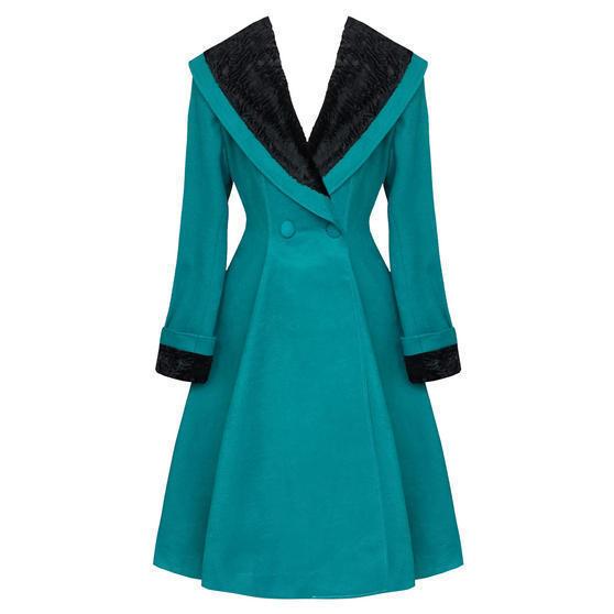 Hell Bunny Vivien Teal Coat