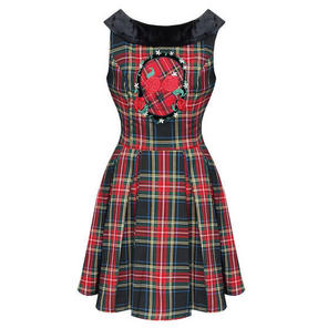 Hell Bunny Janice Red Tartan Skull Goth Punk Party College Dress
