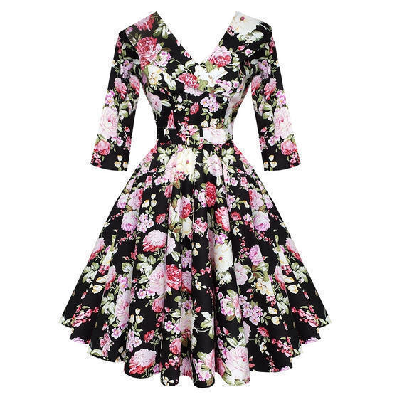 Hell Bunny Black Dahlia 1950s Dress