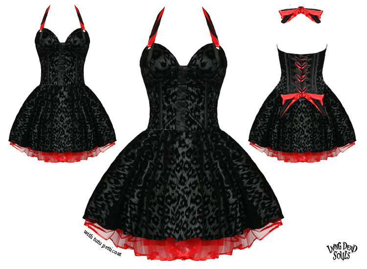 Living dead souls new black leopard rockabilly goth corset for Rockabilly outfit damen