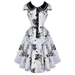 Hearts and Roses London White Floral 50s Vintage Party Swing Jive Pinup Dress