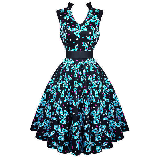 Hearts and Roses London Blue Bow 1950s Dress