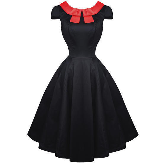 Hearts and Roses London Red Bow 1950s Dress