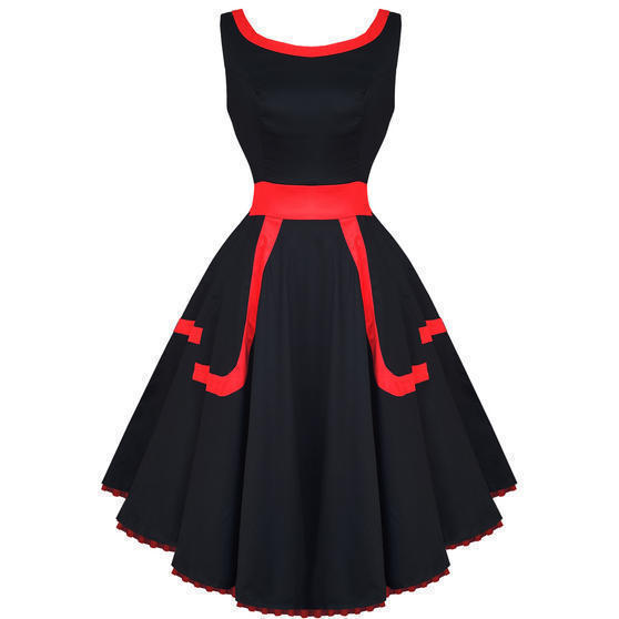 Hearts and Roses London Black and Red 1950s Dress