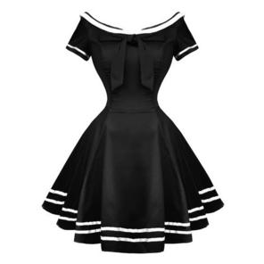 Hearts and Roses London Black Rockabilly 50s Pinup Sailor Mini Dress