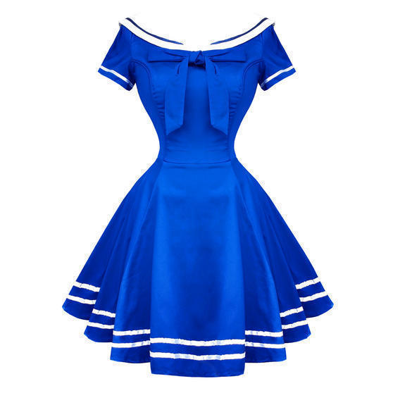 Hearts and Roses London Blue Sailor 1950s Mini Dress