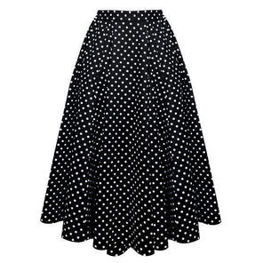 Hearts and Roses London Black Polka Dot Midi Skirt