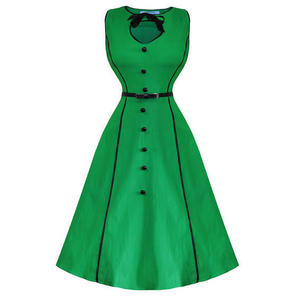 Whispering Ivy Green Bengaline Flared 50s Vintage Swing Prom Dress