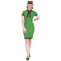 Whispering Ivy Green Bengaline Fitted 50s Vintage Pencil Dress