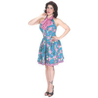 Whispering Ivy Blue Floral Flared 50s Vintage Swing Prom Dress