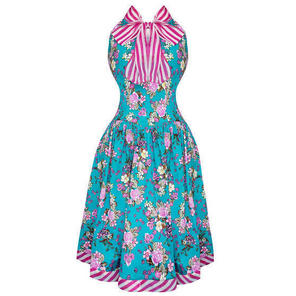Whispering Ivy Blue Floral 1950s Dress